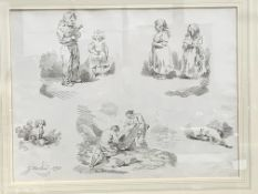 Twelve gilt framed and glazed prints of various subjects signed G Morland