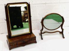 Mahogany toilet mirror with gilt surround and a mahogany framed oval toilet mirror