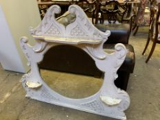 White painted carved wood and bevelled edge glass over-mantel mirror