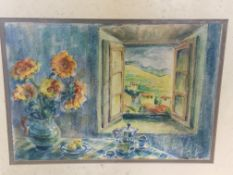 Two oils framed and glazed watercolours by Fiona Goldbacher