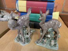 Pair of Lladro baby deer figurines