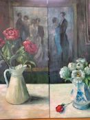 Two oil on canvas paintings of peonies, by Fiona Goldbacher.