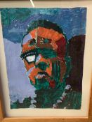 Framed and glazed acrylic entitled 'Portrait of a Man' by A.H.Onitolo