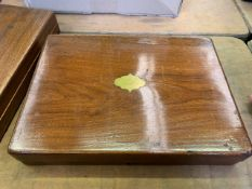 Two mahogany cutlery boxes and a mahogany lectern