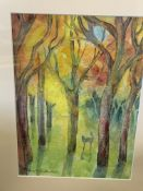 Two framed and glazed watercolours of autumn woodland scenes by Fiona Goldbacher