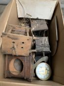 Box of various clock mechanisms and cases