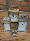 A collection of carriage clocks