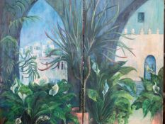 Two oil on canvas paintings of a Mediterranean scene by Fiona Goldbacher.