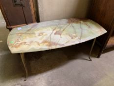 Metal framed low table with marble top