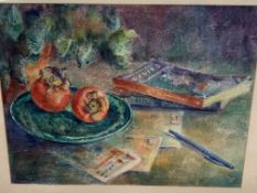 Two farmed and glazed watercolours by Fiona Goldbacher