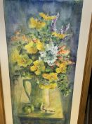 Two framed and glazed watercolours of flowers by Fiona Goldbacher.