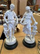 Parian figure of a flower seller with girl together with one of a Blacksmith with boy