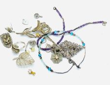Three various brooches; together with other jewellery