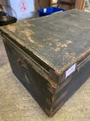 Metal bound black painted trunk with tarred fabric top