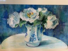 Two framed and glazed watercolours of vases of flowers by Fiona Goldbacher.