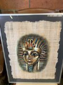 Two framed and glazed watercolours of ancient Egyptian heads