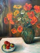 Oil on canvas of a still life vase of flowers, by Fiona Goldbacher