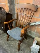 Mahogany rail back open armchair with upholstered seat