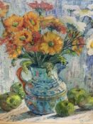 A framed and glazed mixed media oil on canvas; and a watercolour still life of a jug of flowers