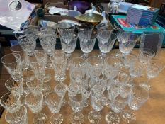 A quantity of cut glass drinking glasses