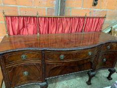 Carved mahogany bow fronted Victorian sideboard