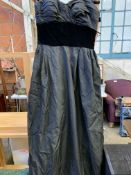 A vintage black ball gown by Susan Small, size 14 and five faux fur hats
