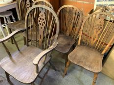 Five Windsor style chairs with elm seats