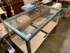 Pair of white metal framed low tables with glass tops