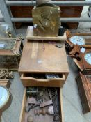 Clock movement and a wooden two door cabinet containing clock parts