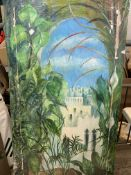 Wooden framed oil on canvas of a North African scene by Fiona Goldbacher