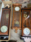 Three mahogany cased wall clocks