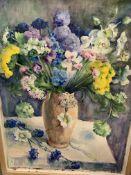 Three framed watercolours still lifes all by Fiona Goldbacher