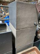 Five square stone-effect fibreglass planters