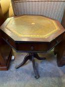 Small mahogany octagonal drum table