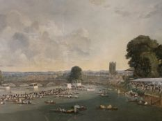 """Framed and glazed print of Henley Regatta by Charles Cundall """"River Pageant"""""""
