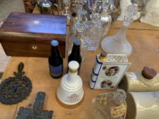 Four cut glass decanters, 2 ceramic decanters with contents and other items