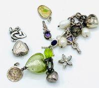 Ten various pendants