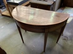 Mahogany demi-lune gate leg table with fold-over top