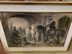 Large gilt framed and glazed Victorian style print