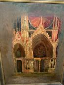 Framed oil on board of Rheims Cathedral