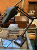 Anglepoise style table lamp with magnifying lens