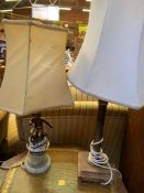 Two brass and stone table lamps