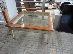 Square wood framed low table