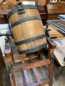 Antique wooden butter churn by Hathaway of Chippenham