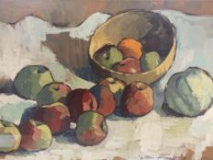 A framed and glazed oil painting of fruit, together with a watercolour of fruit
