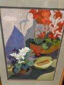 Framed and glazed still life oil, signed Lucienne Hill