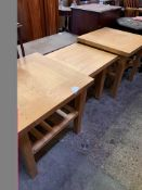 Pair of oak side tables with slatted under shelves; together with a low oak table