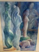 Three framed and glazed watercolours of statues, by Fiona Goldbacher.