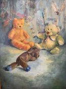 Three oil on canvas with 'collage' paintings of teddy bears by Fiona Goldbacher