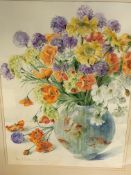 Two framed and glazed watercolours of summer flowers, both signed Fiona Goldbacher, 2015